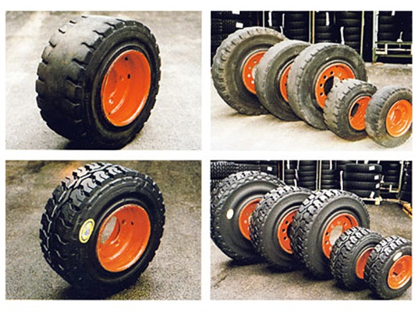 Primjer rabljenih (gore) i obnovljenih (dolje) industrijskih pneumatika